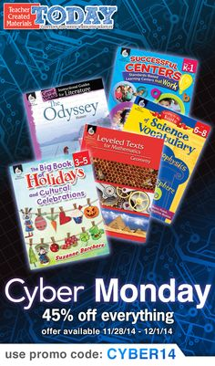 Savings start today! Enjoy 45% OFF your entire purchase at our eStore with promo code CYBER14 now! #cybermonday #teacherdeal