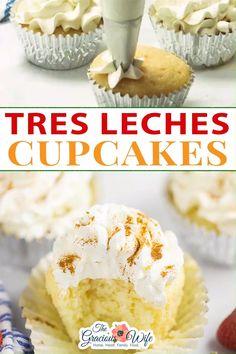 Poke Cake Recipes, Frosting Recipes, Cupcake Recipes, Baking Recipes, Cupcake Cakes, Tres Leches Cupcakes, Torta Tres Leches Recipe, Vanilla Cupcakes, Mexican Dessert Easy