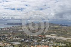 Airport runway on Porto Santo  , small island not far from Madeira Island , Portugal. Europe.