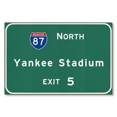 Yankee Stadium Interstate NYC New York ny Metal Sign Art STEEL not tin 36x24