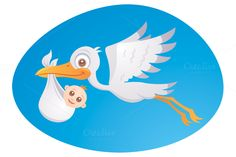 Baby Delivery Stork Graphics Vector cartoon illustration of a stork delivering a cute little newborn baby. PSD, PNG, JPG, EPS, an by Schwegel Illustration Baby Delivery, Travel Logo, Illustrations, Traveling With Baby, Stuffed Animal Patterns, Bird Art, Vector Graphics, Baby Pictures, Decoration
