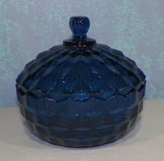 Vintage Fostoria American Cobalt Blue Diamond Point Candy Dish Bowl with Lid