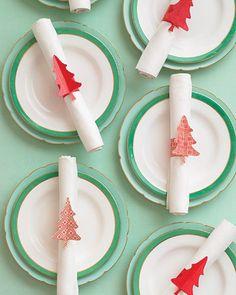 Christmas tree napkin rings! Brilliant!