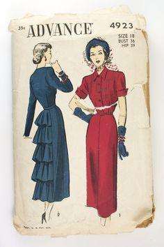 Vintage 1940s Flounced Back Dress Pattern Advance 4923 Bust 36. $15.00, via Etsy.