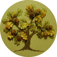 Stumpwork Acorn Oak Tree: This is one of the most divine stitched pieces I've seen. Definitely inspired to learn how to do stumpwork. Crewel Embroidery, Ribbon Embroidery, Cross Stitch Embroidery, Embroidery Patterns, Art Du Fil, Art Textile, Brazilian Embroidery, Ribbon Work, Oak Tree