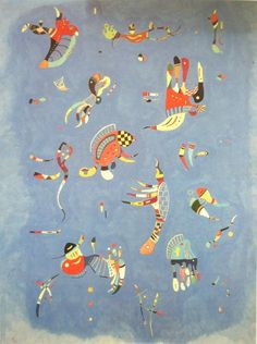 """One of Kandinsky's last paintings """"Sky Blue,"""" 1940, oil on canvas, biomorphic abstraction, Pompidou Center, Paris"""