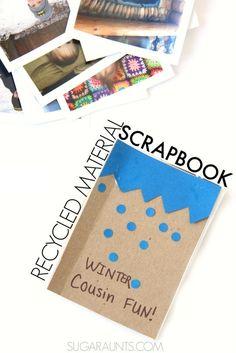 Recycled materials scrapbook with kids #timeshelprints #Pmedia #ad @timeshel