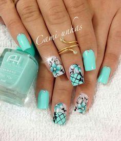 Unhas bonitas, unhas lindas, unhas perfeitas, unhas decoradas delicadas, un Spring Nail Art, Spring Nails, Pink Manicure, Nails Only, Cute Acrylic Nails, Super Nails, Blue Nails, French Nails, How To Do Nails