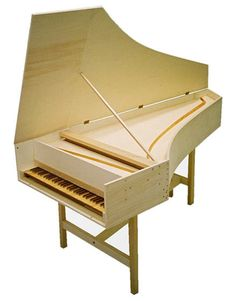 Dimensions: 215 x 95 x 28 cm   Weight: 48 kg   Compass: FF-f3 (61 notes)   Disposition: one keyboard, one or two 8′ registers, lute   Pitch: A = 415 Hz, transposable +/- one semitone (440/392 Hz)   Materials: case in plywood (poplar), soundboard in spruce from Val di Fiemme, keyboard in spruce with key tops in boxwood and walnut, registers and bridges in beech, jacks in service wood.   Finishing: painting in one or two colours.   Disassemblable stand. Removable lid.