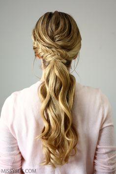 Fishtail embellished ponytail women's world wedding ponytail Low Pony Hairstyles, Prom Ponytail Hairstyles, Ponytail Updo, Prom Hair Updo, Wedding Hairstyles, Formal Ponytail, Braided Updo, Ponytail Wedding Hair, Ponytail Ideas