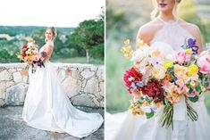 We are still crushing over this gorgeous In Full Bloom bouquet editorial photographed by the very talented Honey Gem Creative! Camp Lucy served as a perfect scenic backdrop, the vibrant space was a beautiful complement to every bouquet. MY STYLE TEAM created flawless makeup looks pairing the perfect lip colors with a natural updo. These charming dresses from Unbridaled are simply stunning next to these bountiful bouquets from Austin's finest florists. #themenagerie #margotblairfloral
