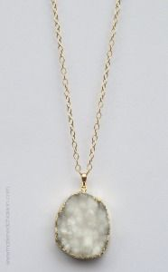 Snow White Druzy Necklace - MDC Artistic Designs. Get ready for the holidays with this exceptional white druzy crystal quartz necklace. It looks like fresh fallen snow around your neck. An elegant piece to show off during all the holiday festivities and beyond. It hangs from a 30 in. necklace which will fall just below the neckline.
