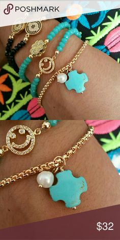 Dainty jewelry gold and turquoise bracelet 18k gold plated, natural turquoise and a freshwater pearl 8inches long Alquimia Jewelry Bracelets