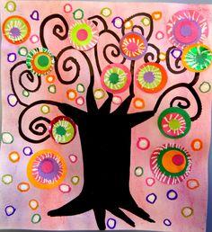 Arts visuels Maternelle Arbre à la manière de Karla Gerard