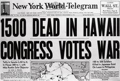 newspaper headlines, pearl harbor, pearl harbor attacks, world war II, new york world telegram, 1941