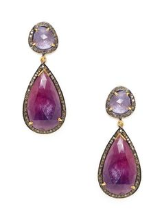 Tanzanite Freeform Oval & Sapphire Teardrop Earrings by Amrapali on Gilt.com