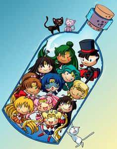 Sailor Moon's characters in a bottle