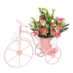 Proyectos |Adorno bicicleta floral rosa Bicycle Decor, Garden Stand, Dollar Store Crafts, Centre Pieces, Flower Boxes, Garden Furniture, Floral Arrangements, Beautiful Flowers, Diy And Crafts