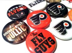 PHILADELPHIA FLYERS NHL hockey pinback by SkippyDogDesigns, $6.50 Flyers Hockey, Hockey Teams, Philadelphia Flyers, Florida Gators, Nhl, Android, Touch, Buttons, Orange