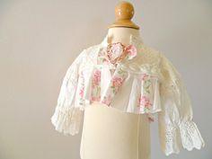 Shabby Rose Altered Vintage Newborn Top. by ProvencalMarket
