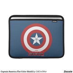 Captain America Flat Color Shield MacBook Sleeve. Regalos, Gifts. #fundas #sleeves