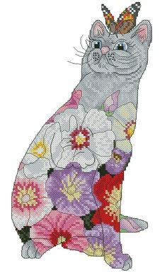 Lena Lawson Needlearts - Flower Cats Collection - Hollyhock Cat - Cross Stitch Chart