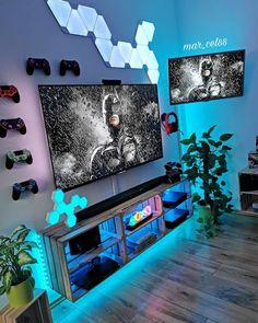 Gaming Lounge, Gaming Room Setup, Gaming Rooms, Pc Setup, Boys Game Room, Boy Room, Teen Game Rooms, Bedroom Setup, Boys Bedroom Decor