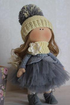 Tilda doll Handmade doll Fabric doll Grey doll Soft doll Cloth doll Baby doll Rag doll Interior Textile doll Collectable doll by Oksana Z Fabric Dolls, Paper Dolls, Waldorf Dolls, Soft Dolls, Diy Doll, Doll Patterns, Beautiful Dolls, Baby Dolls, Doll Clothes