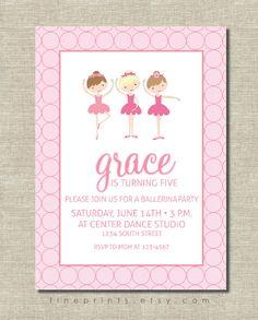 ballerina birthday party invitation by FinePrints on Etsy, $15.00