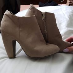 2ee0ee13873 Mossimo Taupe Ankle Boots Booties with Zipper Chunky Heel Faux Suede   fashion  clothing