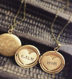 Custom Initials & Date Locket Necklace by Sora Designs on Scoutmob