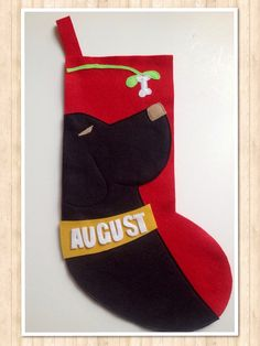 Black Lab Dog Christmas Stocking PERSONALIZED FREE by StudioTree, $45.00