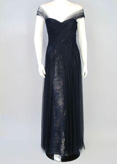 MONIQUE LHUILLIER Navy Draped Tulle Lace Gown Size 6 Retail $8995 76-403  #MoniqueLhuillier #BallGown #Formal