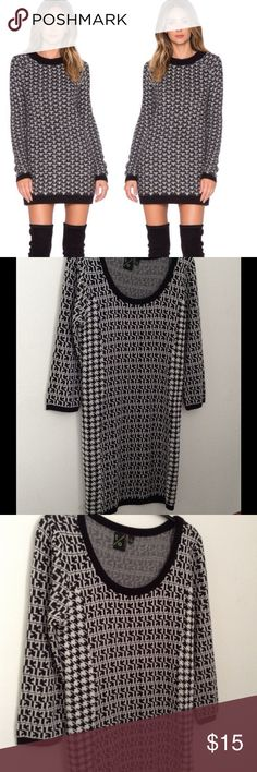 T/O Sweater Dress Black and white sweater dress. Acrylic/stretch material. Never worn! 3/4 sleeves. Dresses