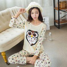 New Spring Autumn Women Long Sleeve Pajama Sets Female Sleepwear Homewear Sets Casual Cartoon Sleep Lounge Girls Pijama G1285