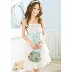 $7.39 Refreshing and Graceful Wrapped Chest Layered Frills Strapless Chiffon Dress For Women