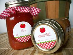 Gingham Tomato Canning jar labels, round red stickers for mason jars, vegetable preservation, salsa, spaghetti sauce, juice, cottage chic, CanningCrafts, $4