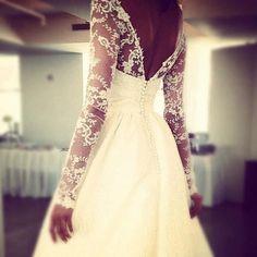 Long lace sleeve wedding dress. Back detail.