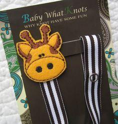 Boy Pacifier Clip, Giraffe Pacifier Clip, Zoo Animal Pacifier Clip, pcgiraffe01