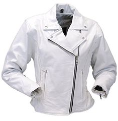 Jamin' Leather White Leather Road Angel Motorcycle Jacket (XL) #L7013ZW