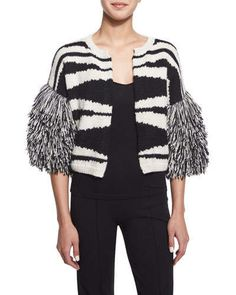 Figue  Striped Knit Fringe-Sleeve Sweater, Black Fall 2015