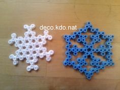 Christmas snowflake ornaments hama perler beads by Deco.Kdo.Nat