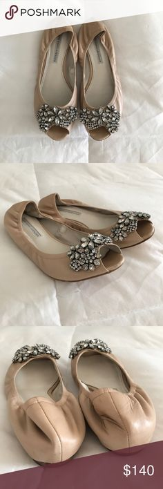 Vera Wang Lavender peep toe embellished flats Beautiful nude leather peep toe flats with embellishments. Perfect for bridal or any dressier occasion, or to dress up a casual outfit. Size 7M. Excellent condition. The only signs of wear are a few scuffs on the toes, as well as the bottoms showing normal wear. Vera Wang Lavender Label Shoes Flats & Loafers