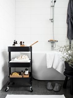 ikea raskog as bathroom storage - can be moved around the room if space is v small Bathroom Cart, Diy Bathroom Decor, Bathroom Interior, Small Bathroom, Bathroom Ideas, White Bathroom, Neutral Bathroom, Ikea Bathroom Storage, Bathroom Table
