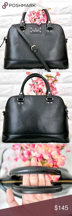💖Kate Spade Wellesley Rachelle EXCELLENT USED CONDITION. • No stains rips or tears. Minimal wear inside. • PRICE FIRM. No trades   DETAILS: Color: Black Material: Boarskin embossed Cowhide Leather  Dimension: 10H x 13.6W x 5L kate spade Bags Satchels