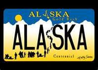 """Kathy Sarns-Irwin's original Alaska Gold Rush Centennial License plate design won the """"Best Plate in the United States Award"""". This artwork is featured on her famous Free Spirit bike jersey (AK Gold Rush). North To Alaska, Visit Alaska, License Plate Designs, License Plates, Free Spirit Bike, Alaska The Last Frontier, Anchorage Alaska, Maybe One Day, I Want To Travel"""