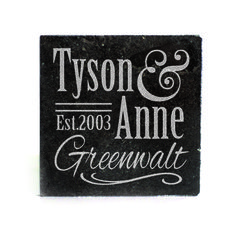Black Granite Coasters (set of 4) - Personalized First & Last name with Est. Date