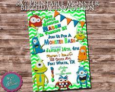5 X 7 Printable Monster Birthday Invitation - Monster Themed Birthday Invite - Monster Invitation - Kid's Monster Birthday Party Invitation #monsterbash #monsterparty #kidspartyinvitations