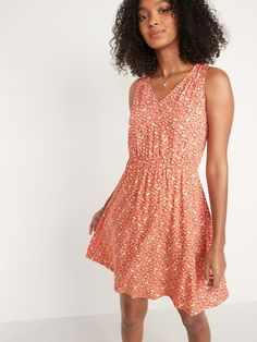 Sleeveless Waist-Defined V-Neck Dress for Women | Old Navy Shop Old Navy, Pretty Much, Old Navy Women, V Neck Dress, Things To Buy, Fashion Beauty, Coral, My Style, How To Wear