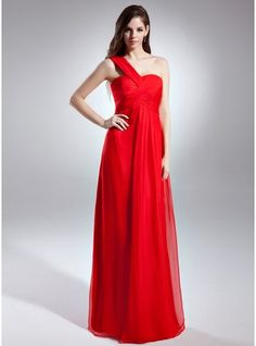Empire One-Shoulder Floor-Length Chiffon Bridesmaid Dress With Ruffle $99.99